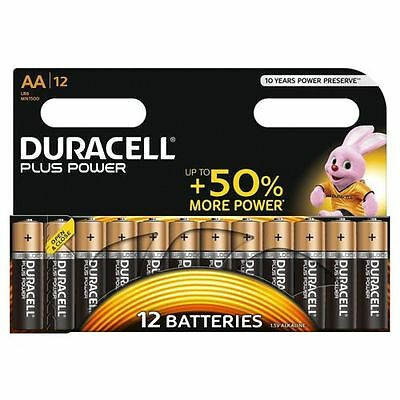 12 x Duracell AA Plus Power Alkaline Batteries, Duralock. LR6, MN1500,Expiry2026