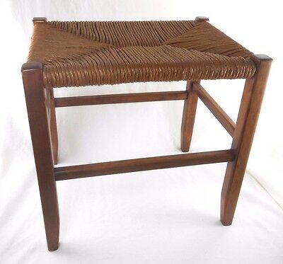 Vintage Handcrafted Cane Top Wood Cricket Bench Stool Mid Century Modern