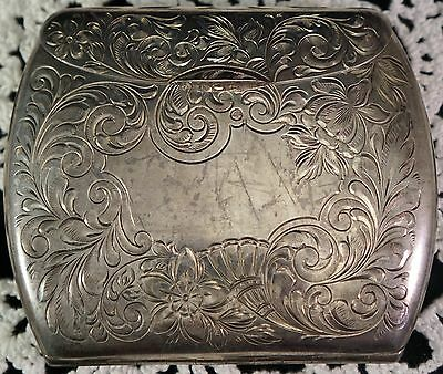 Sterling Silver Card or Cigarette Case with Nice Carving Scroll work Gold Wash