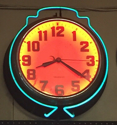 VINTAGE NEON CLOCK made by BRUBAKER