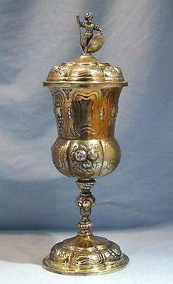 L. 18th/E. 19th Century 800 Gilt Silver German Covered Cup/Goblet Darmstadt City