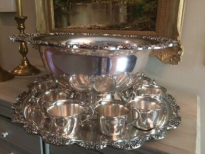 Massive TOWLE 13 Piece GRAND DUCHESS Silverplate PUNCHBOWL, UNDER TRAY & 11 CUPS