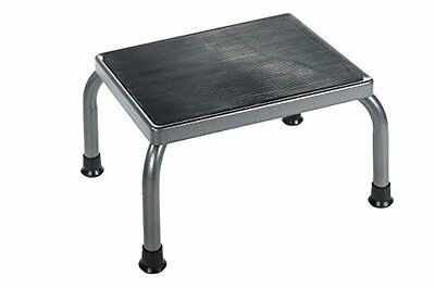 Drive Medical Footstool with Non Skid Rubber Platform Silver Vein Finish