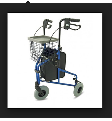 3 Wheel Rollator Lightweight 6.8 kg BLUE Colour - Tray and Basket BR NEW