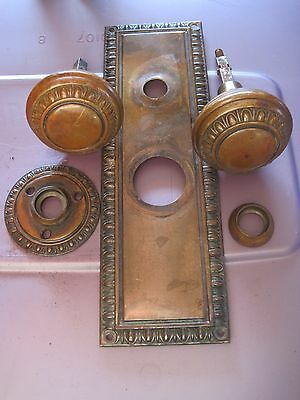 Antique Art Deco Victorian Eastlake Mission Door Knob Lock Mortise Face Plate ,