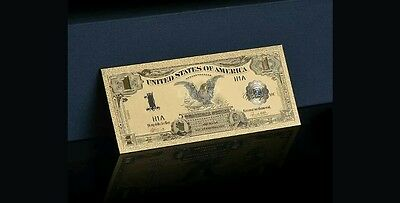 "<GEM>1899 ""GOLD""$1 SILVER CERTIFICATE BLACK EAGLE  Rep.*Banknote W/COA~STUNNINGy"