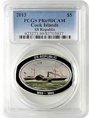 2013 $5 Cook Islands SS Republic Silver Proof Coin w/ Coal Insert PCGS PR69DCAM