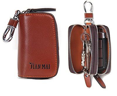 Genuine Leather Double Zipper Car Key Holder Wallet Keychain Coin Purse Brown