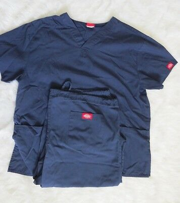 Dickies Scrub Set Womens Size Medium Navy Blue Pants Shirt Top Bottoms