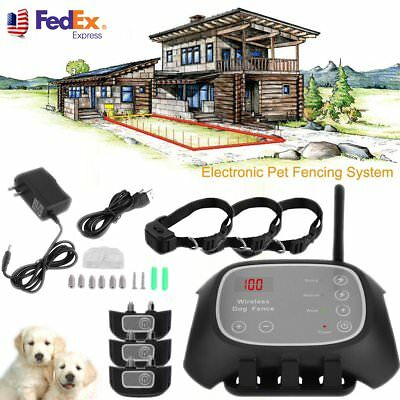 Waterproof Wireless 1/2/3 Dog Pet Remote Electric No-Wire Containment System VP