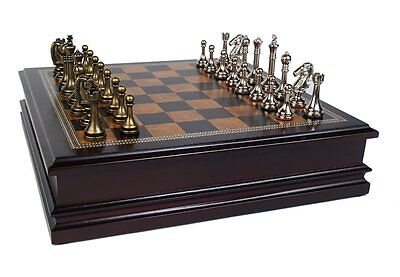 Classic Elegant Metal Chess Deluxe Wood Board Kids Adult Mind Game Play Set