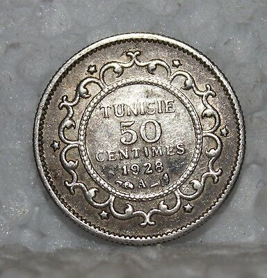 1928-A Tunisie 50 Centimes Silver Coin 1347/1928 KM 249 Very RARE Low Mintage