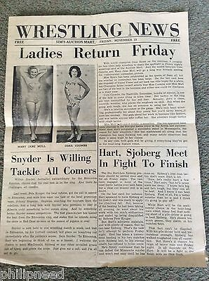 CANADA c1952 SIM'S AUCTION MART RED DEER ALBERTA WRESTLING MATCH NEWSPAPER