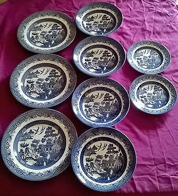 James Broadhurst for Ringtons Willow Pattern Set of Plates + Bowls x 9
