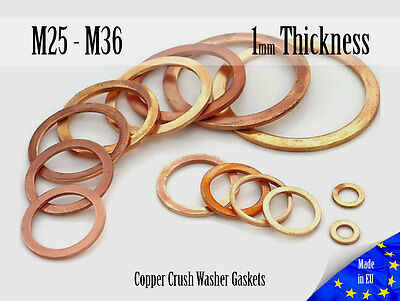 M25 / M36 Thick 1mm Metric Copper Flat Ring Oil Drain Plug Crush Washer Gaskets