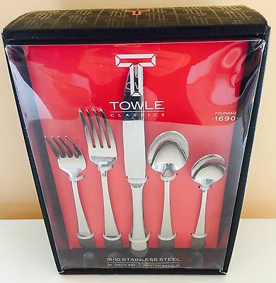 Towle Boston Antique 45-Piece 18/10 Stainless Steel Flatware Set, Service for 8