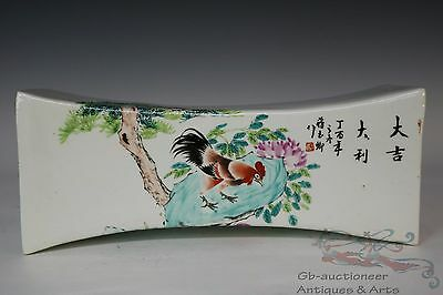 Famille Rose Beautiful Chinese Porcelain Rooster Statue Pillow