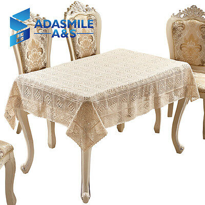 Adasmile Crochet Floral Cotton Solid Table Cover Wedding Overlays TableCloth