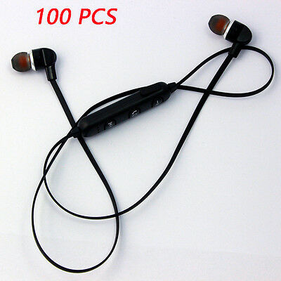 Pack of 100 PCS Sport Wireless Bluetooth Earbuds Stereo Earphones Headsets Black