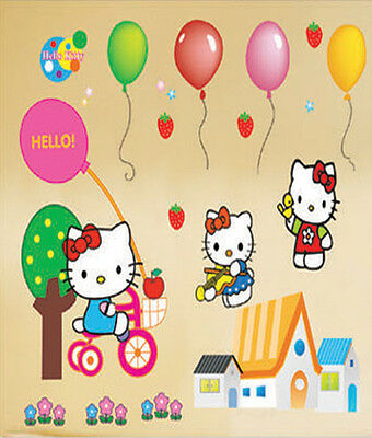 SALE - WAK- 027 Wandaufkleber Wandtattoo Wandsticker Hello Kitty Kinderzimmer