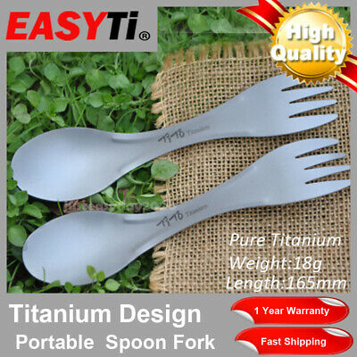 EasyTI 1Pcs Pure Titanium Portable Spork Spoon Fork Tableware Flatware Cutlery
