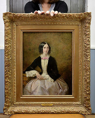 Very Fine 19th Century Portrait Oil Painting of a Beautiful Young Victorian Girl