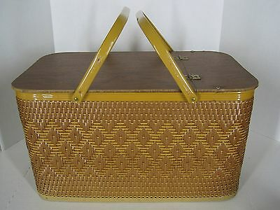 Vintage Woven Wicker Picnic Basket Bottom Shelf Hinged Lid Double Metal Handles
