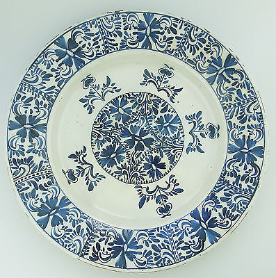 Antique Continental Pottery : An unusual Dutch Delft Charger - C 18th century