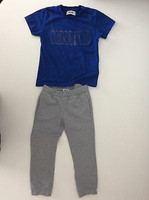 Moschino Boys Outfit, Set, Size Age 4 Bottoms And Top, Blue Grey, Vgc