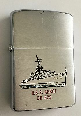 Vtg WWII Military US Navy USS Abbot DD 629 Destroyer Zippo Cigarette Lighter