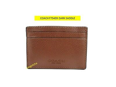 COACH  F75459 Money DARK SADDLE Clip Card Case Leather * NWT *
