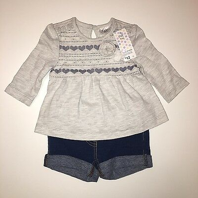 Bnwt F&f Baby Girls Top And Shorts 2 Piece Outfit Set - Up To 3 Month (Next Day)