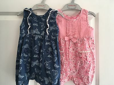 NWOT 2 Baby Girl Playsuits With Flower �� & Butterfly �� Designs. 3-6 Months ��