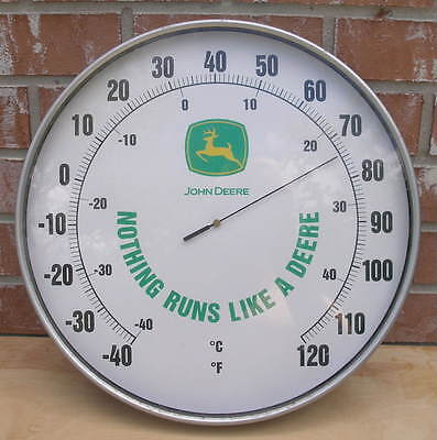 """Vintage? JOHN DEERE 15"""" Round Outdoor Thermometer Nothing Runs Like A Deere"""