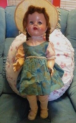 Vintage Ideal Saucy Walker Doll 22 Inch Original Dress and Shoes Plus Clothes