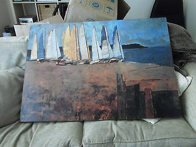 LARGE ORIGINAL  ACRYLIC SAILING BOATS SEASCAPE ,YACHTS. PAINTING 112x30cm canvas