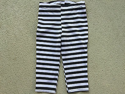 Balera Dancewear Black & White Stripe Dance Jazz Pants Knee Length Size SC