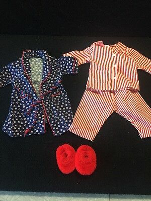 American Girl Molly's Robe Slippers & Striped Pajamas Good Used Condition