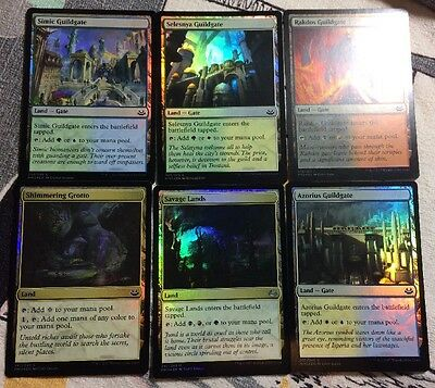 Lot Of 6 Foil Lands From MM17 Savage Lands Shimmering Grotto Pack Fresh Nm-M