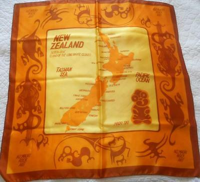 Unworn Vintage Souvenir Scarf New Zealand Maori Rock Art