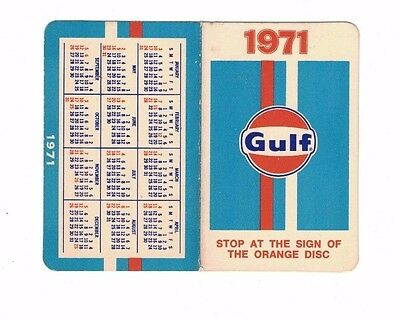1971 GULF Oil Pocket Size Calendar - Gas Oil Advertisement Ad - Service Station