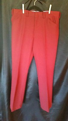 vintage 70s mens Burgandy double knit polyester flare pants 36x32
