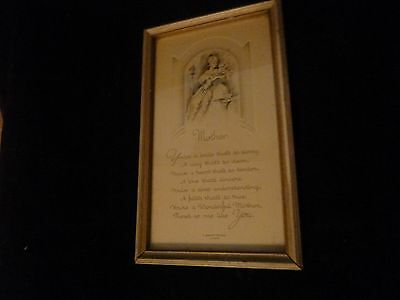 "Art Deco Framed ""mother"" Motto Picture A Memory Keepsake By Gibson"