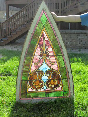 "2 ANTIQUE STAINED GLASS WINDOWS / Nice, LOT of (2)  57"" x 33"" - C. 1870s"
