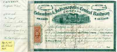 Columbus & Indianapolis Central RW Stock issued on day of A Lincoln's Death