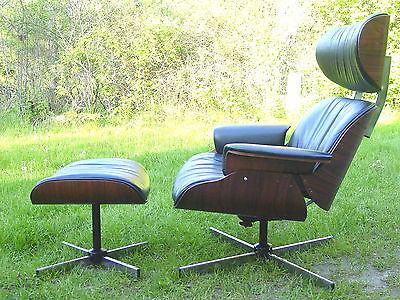 Vintage 1960s rosewood lounge chair ottoman Mulhauser Eames era mid century mod