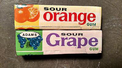 Adams sour gum packs unopened vintage orange and grape