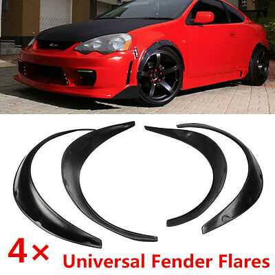 Black 4pcs Flexible Fender Universal Fender Flares Durable Polyurethane For Car