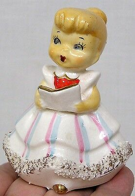 Vintage Figural Girl Bell Holds Book Made in Japan 1950s