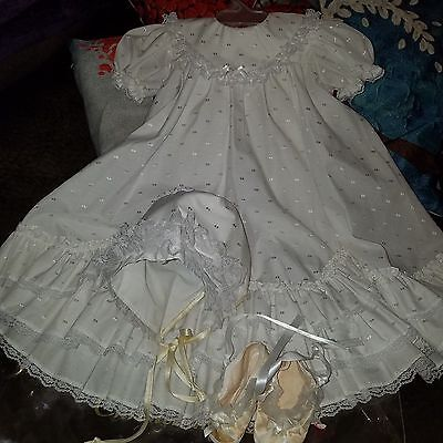 Phyllis Baby Wear White Vintage Christening Gown Bonnet booties / shoes 6-12 mos